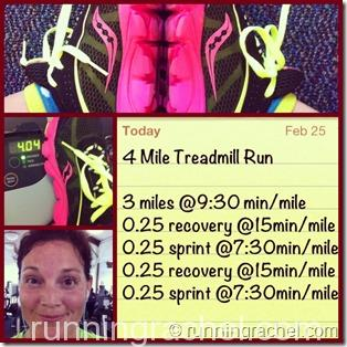 2/25 - 4 mile treadmill run