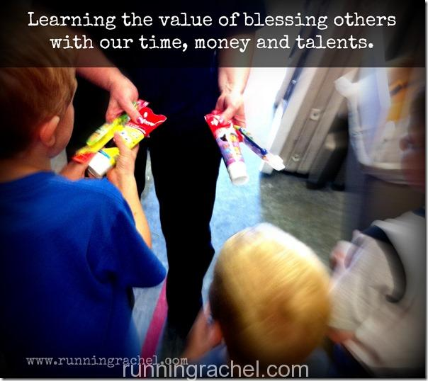 learning the value of donating and blessing others with our time, money and talents